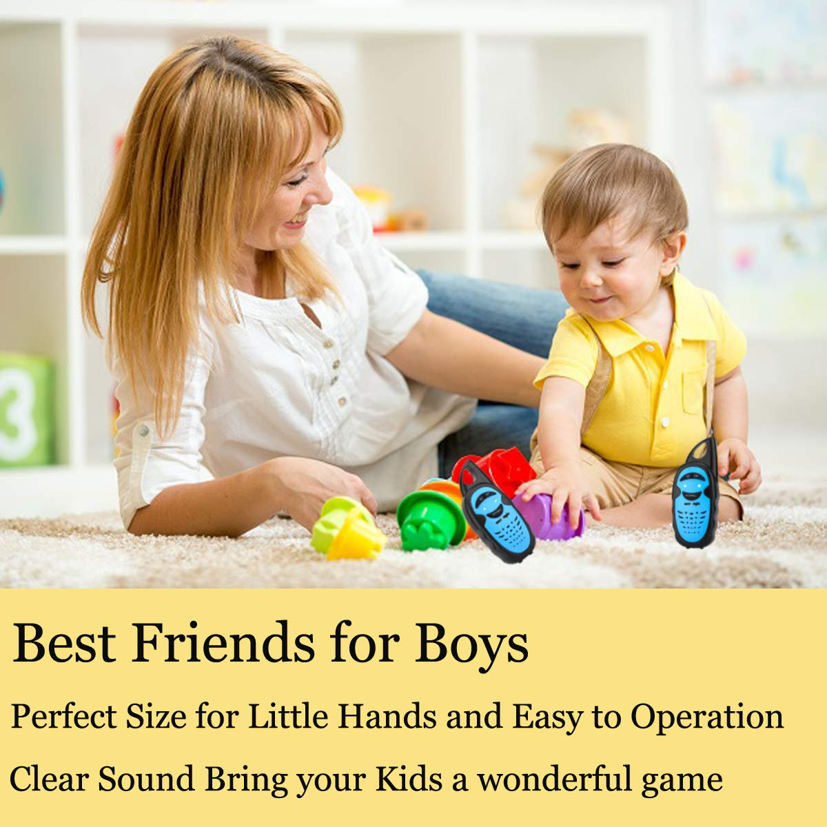 WES TAYIN Upgraded Walkie Talkies for Kids, Up to 2-Mile and 3 Channels Easy to Use Walkie Talkies for Toddlers, Toy Walkie Talkies for Little Hands Boys Gifts by WES TAYIN (Image #4)