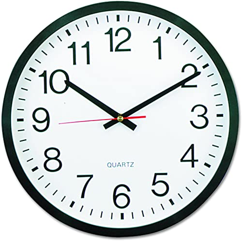 Universal 10431 Round Wall Clock, 12 5 8 dia., Black