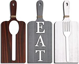 Jetec 3 Pieces Cutting Board Eat Wood Sign Wall Decor Rustic Farmhouse Fork and Spoon Wall Hanging Wooden Kitchen Decor for Home Dining Living Room Bar Cafe Decoration (Classic Color)