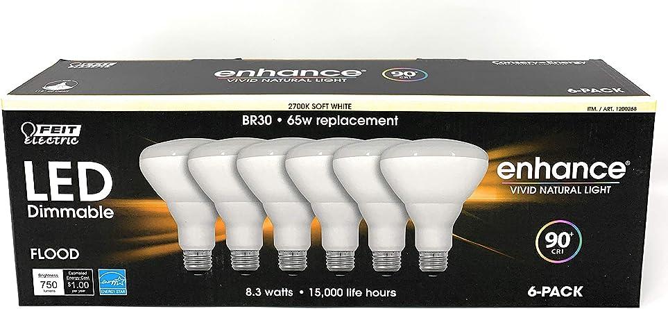 enhance vivid natural light Feit Electric 65 Watt LED Dimmable BR30 Flood 6 Pk