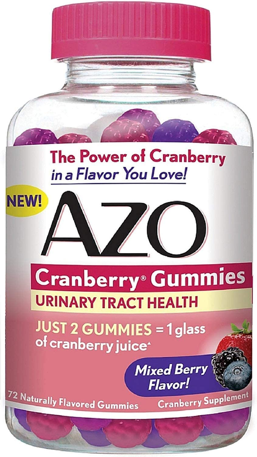 AZO Urinary Tract Health Cranberry Gummies, Mixed Berry 72 ea Pack of 2