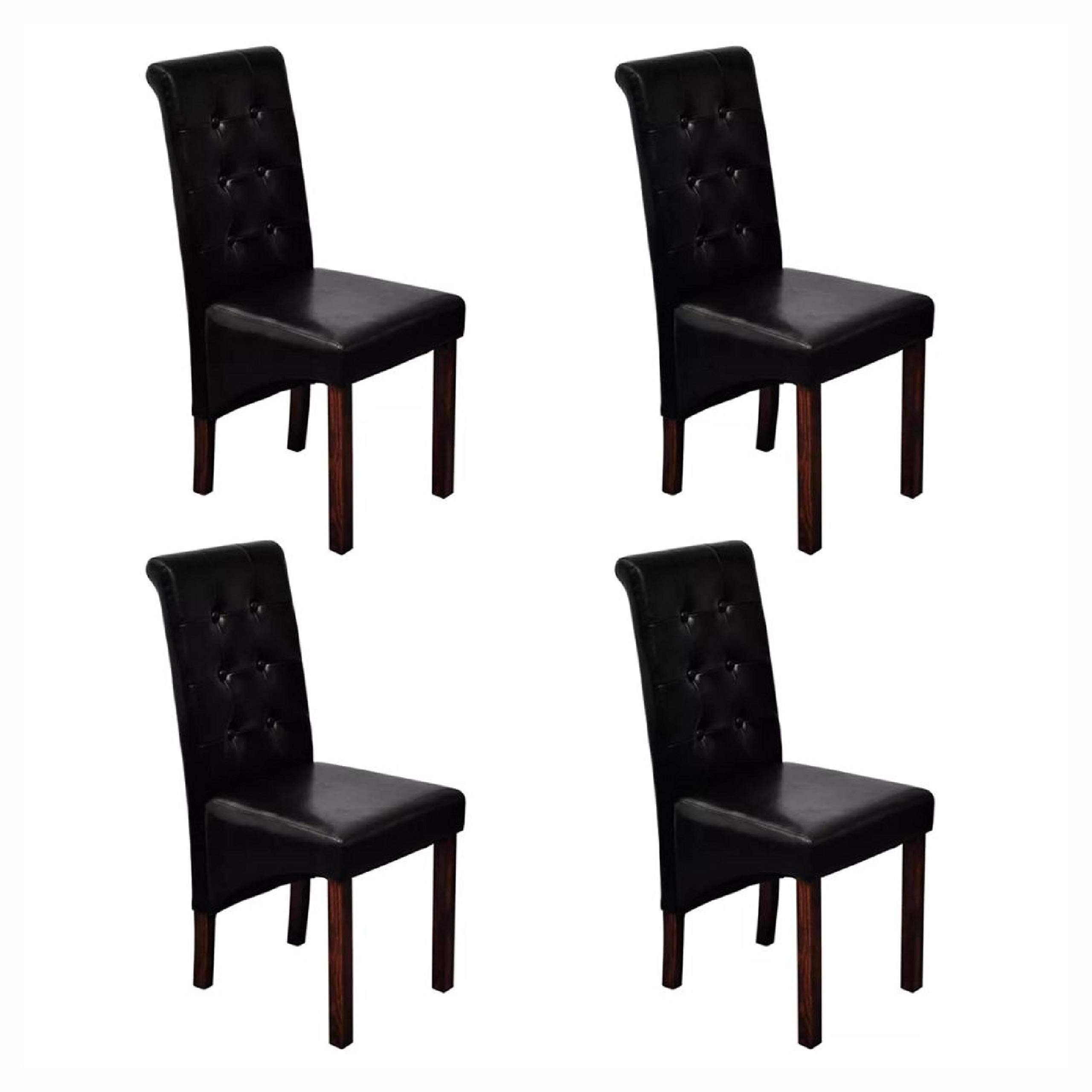 HomyDelight Kitchen & Dining Room Chair, 4 Scroll Back Artificial Leather Wooden Dining Chairs Black by HomyDelight