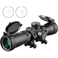 MA3TY 1.5-5x32 Crossbow Scope, 20-100 Yards Ballistic Reticle,300 FPS - 425 FPS Speed Adjustment Red Green Illuminated Rings Included