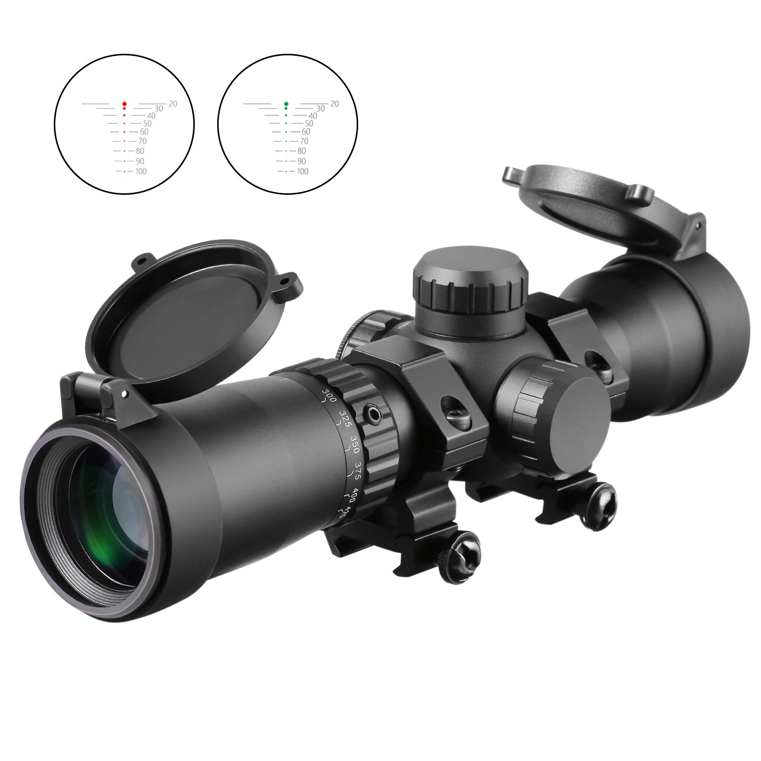 1.5-5x32 Crossbow Scope, 20-100 Yards Ballistic Reticle,300 FPS - 425 FPS Speed Adjustment Red Green Illuminated Mount Included by MA3TY