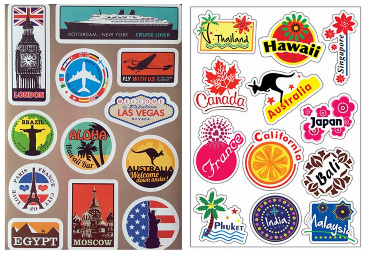 Vooseyhome 2X World Famous Tourism Country & Regions Logo Waterproof Stickers - Idea Luggage Skateboard Laptop Luggage Suitcase Book Covers etc JJedward