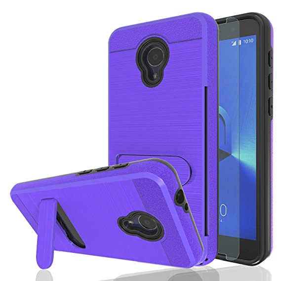 Ayoo for:Alcatel 1X Evolve Case,Alcatel IdealXTRA Case,Alcatel TCL LX  (A502DL) Case with HD Screen Protector,[Card Slot Holder Kickstand] Dual  Layer