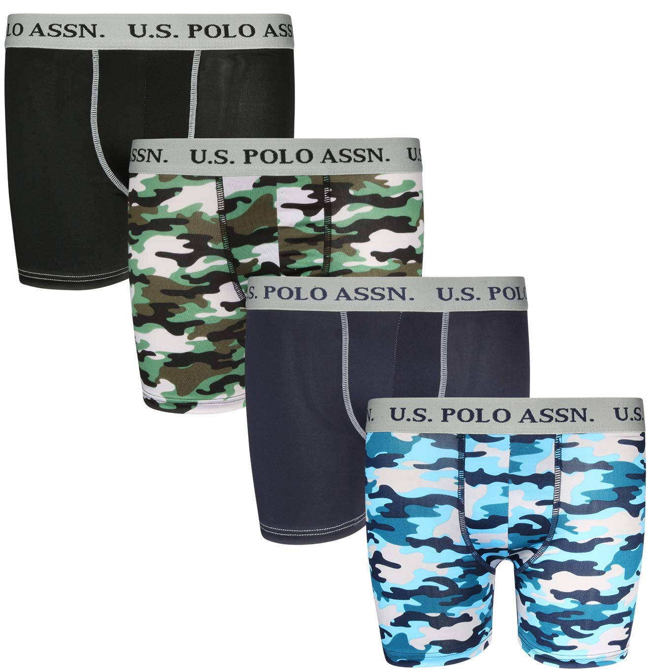 U.S. Polo Assn. Boys' Performance Active Compression Underwear Boxer Briefs (4 Pack)