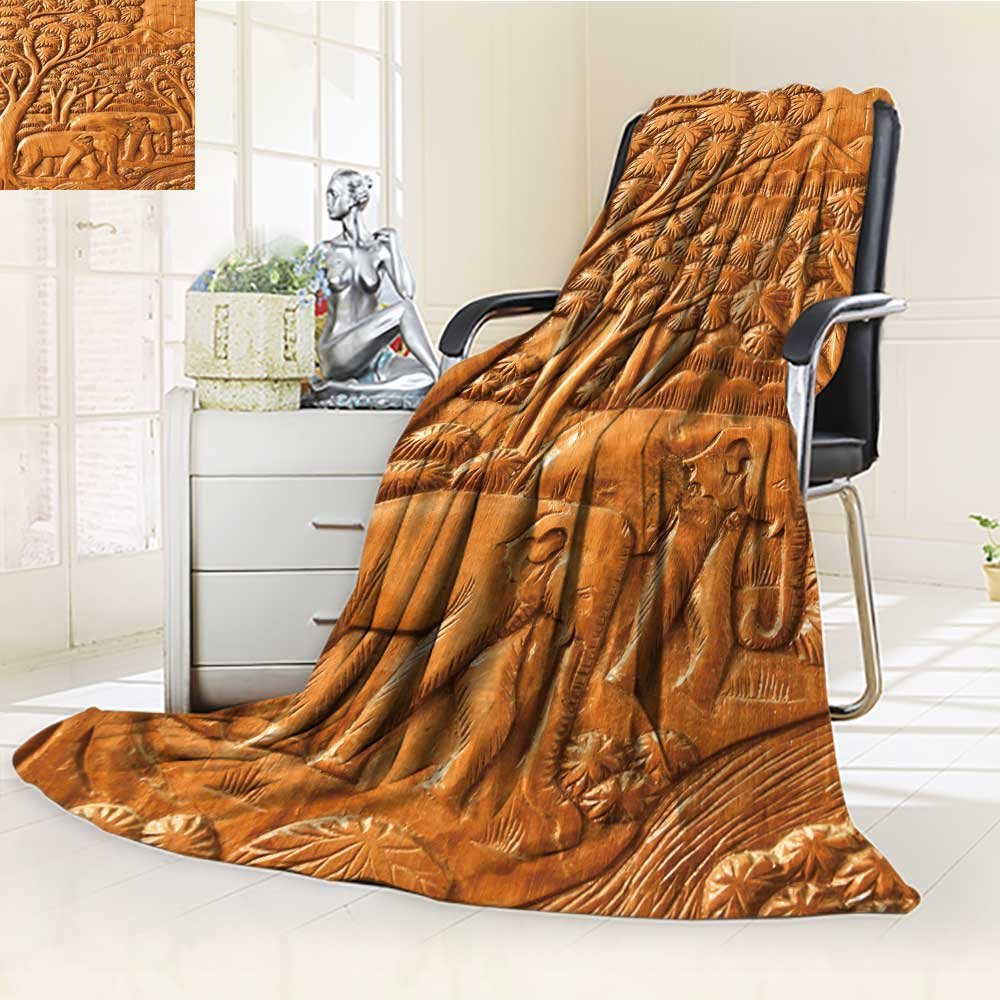 Decorative Throw Blanket Ultra-Plush Comfort carved thai elephant on the wood wall Soft, Colorful, Oversized | Home, Couch, Outdoor, Travel Use(60''x 50'') by Leighhome