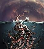 A fantastical depiction of the legendary Kraken Poster Print (13 x 15)