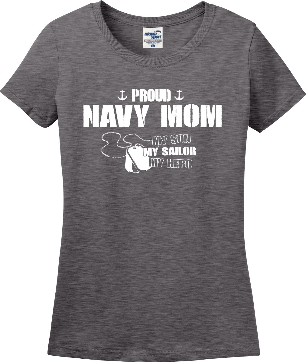 Utopia Sport Proud Navy Mom My Son Sailor Hero Ladies T-Shirt (S-3X) (Medium, Graphite Heather)