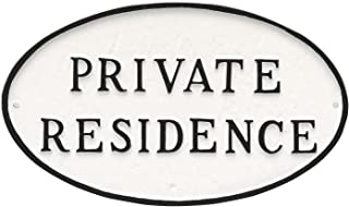 "product image for Montague Metal Products Oval Private Residence Statement Plaque Sign, White with Black Lettering, 6"" x 10"""