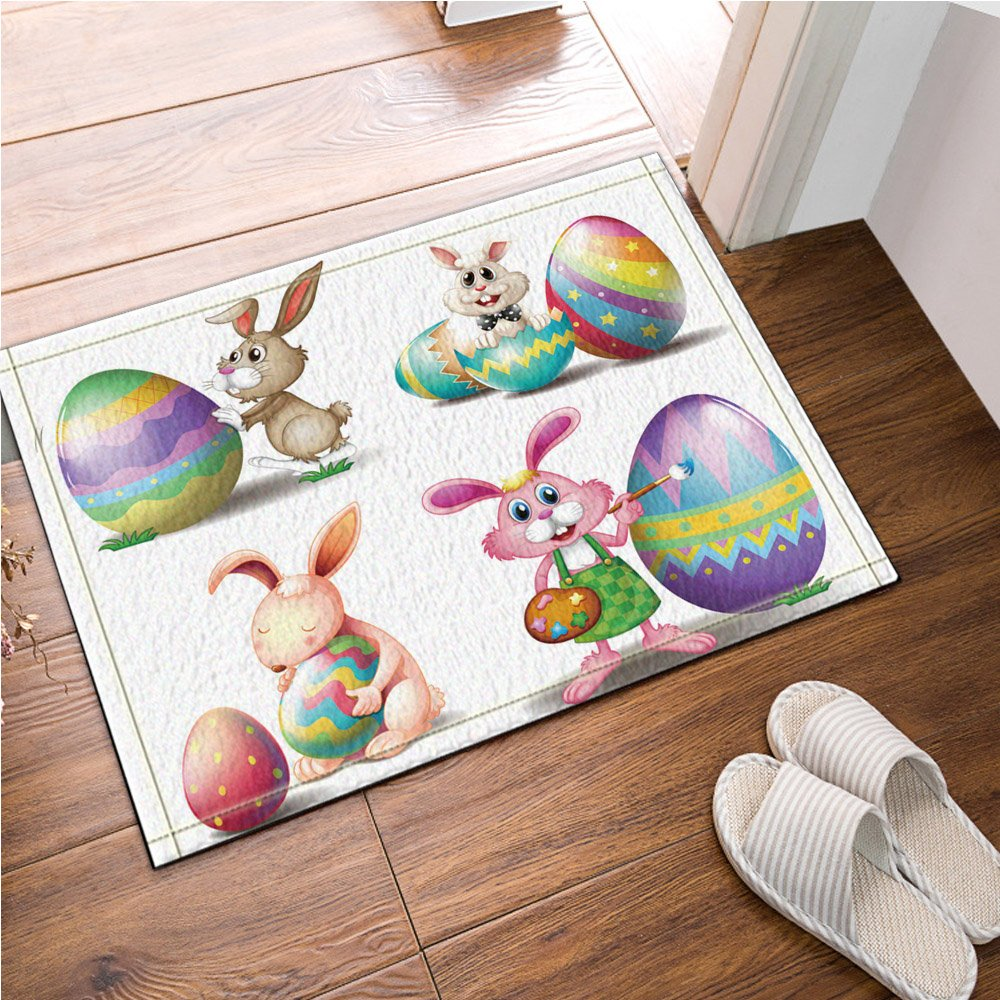 NYMB Easter four eggs rabbits in white Bath Rugs, Non-Slip Rectangle Floor Entryways Outdoor Indoor Front Door Mat,16X24 Inches Bath Mat