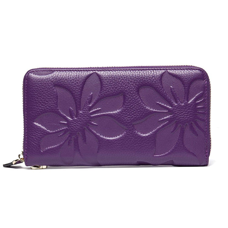 TraderPlus Women RFID Blocking Clutch Wallet Leather Purse Credit Card Holder (Purple)