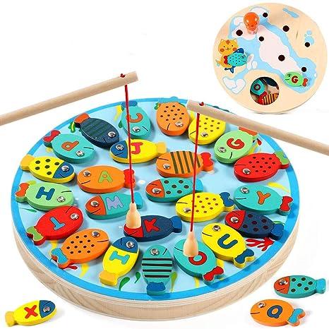SZeao Juego de Pesca Magnetico Alfabeto de Madera Puzzle de ...