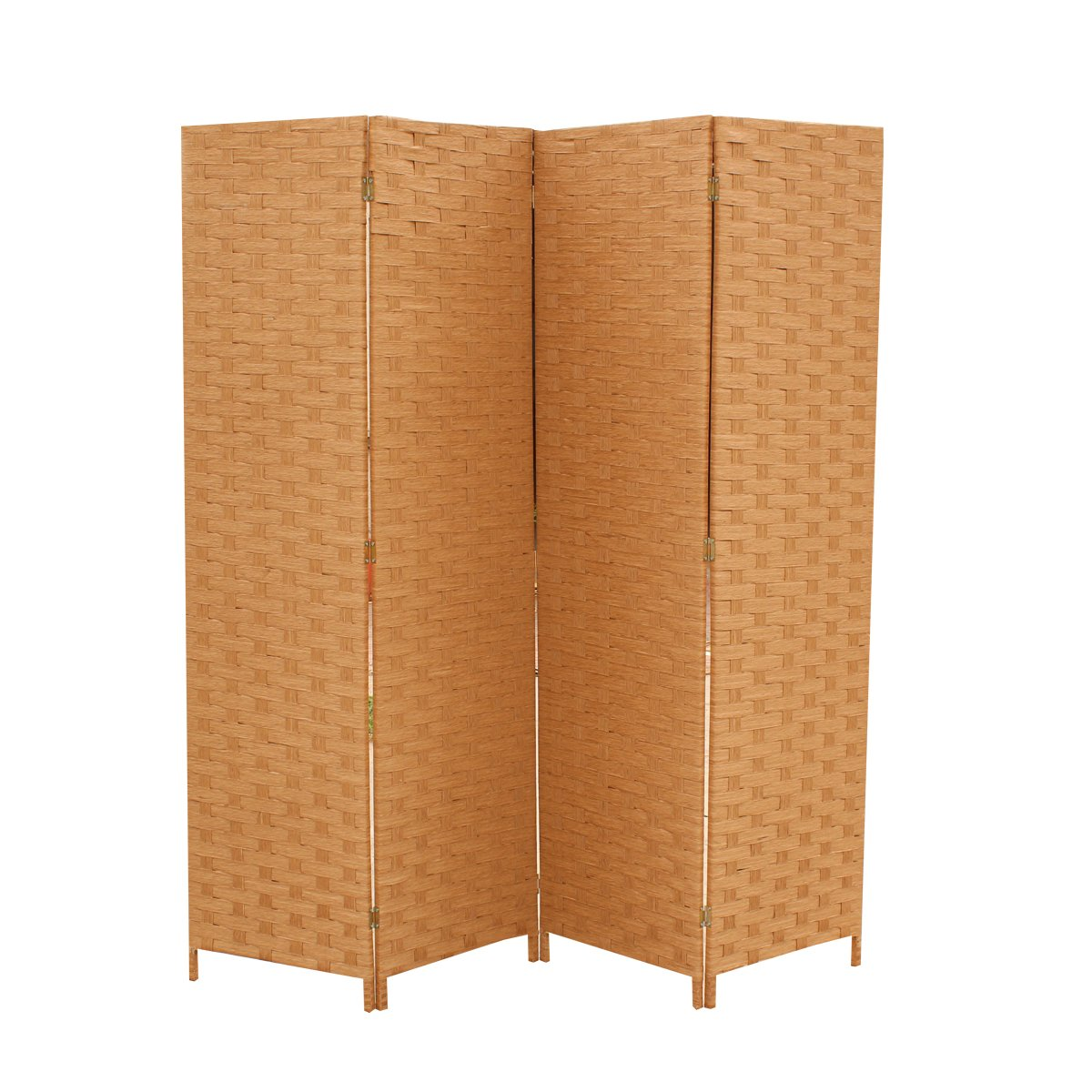 4 Panel Folding Wooden Screen Room Divider Wood Mesh Woven Design Best Massage