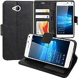 VCOMP® Housse Coque Etui portefeuille Support Video Livre rabat cuir PU pour Microsoft Nokia Lumia 650/ Dual SIM - NOIR