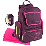 Yodo Diaper Bag Backpack with Insulated Pockets and Wipe Case - Multi-funtion Backpack for Baby Care Travel and Daily Out Walking, Purple