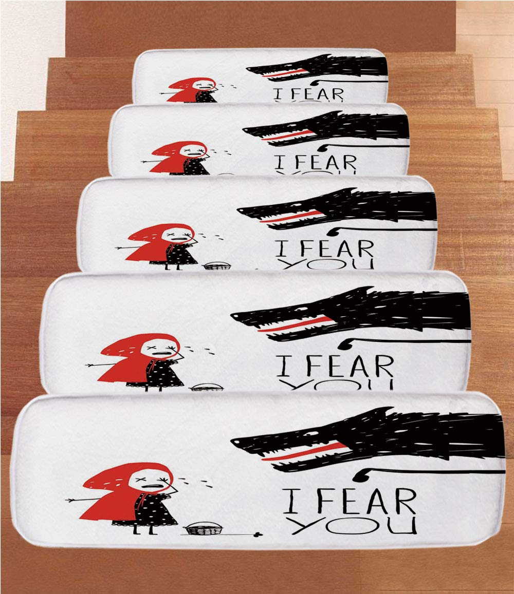 iPrint Non-Slip Carpets Stair Treads,Wolf,Fairy Tale Design with Little Girl Colorful Scarf Big Scary Animal Sketch Style,Black Red White,(Set of 5) 8.6''x27.5'' by iPrint