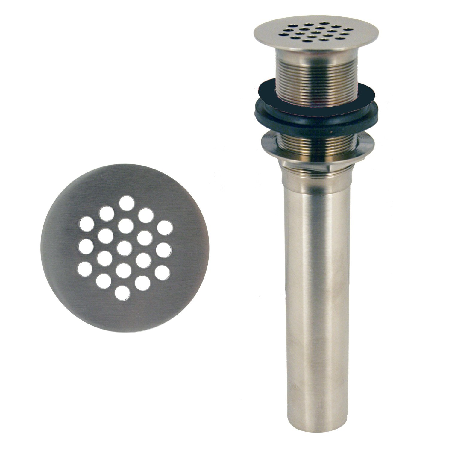 Westbrass D411-12-07 Grid Strainer Lavatory Drain w/o Overflow Holes - Exposed, Satin Nickel