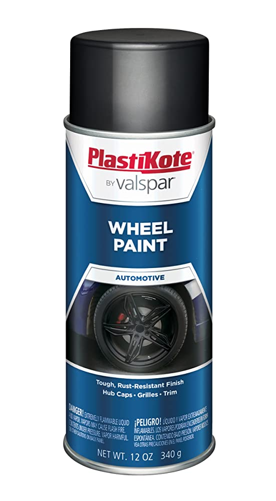 7. PlastiKote 620 Semi-Gloss Black Wheel Paint - 12 oz.