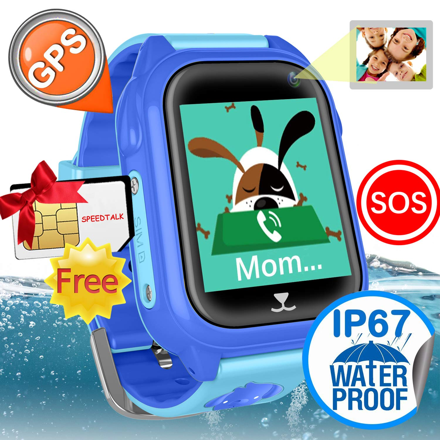 iCooLive Waterproof IP67 Kids Smart Watch Accurate GPS Tracker with FREE SIM CARD for Kid Boys Girls Smartwatch Phone watch Game watch with SOS Call Camera Electronic Learning Toys Birthday Gift by iCooLive (Image #1)