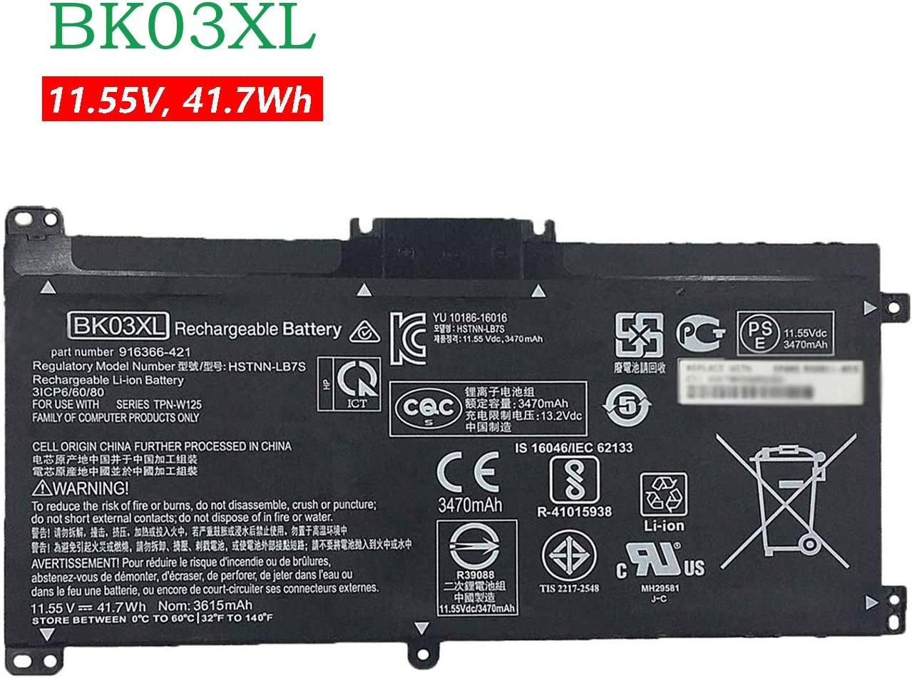 BOWEIRUI BK03XL(11.55V 41.7Wh 3615mAh) Laptop Battery Replacement for Hp TPN-W125 Pavilion X360 14 14m Series 916366-421 916366-541 916811-855 916812-855 HSTNN-LB7S BK03041XL HSTNN-UB7G TPN-W125