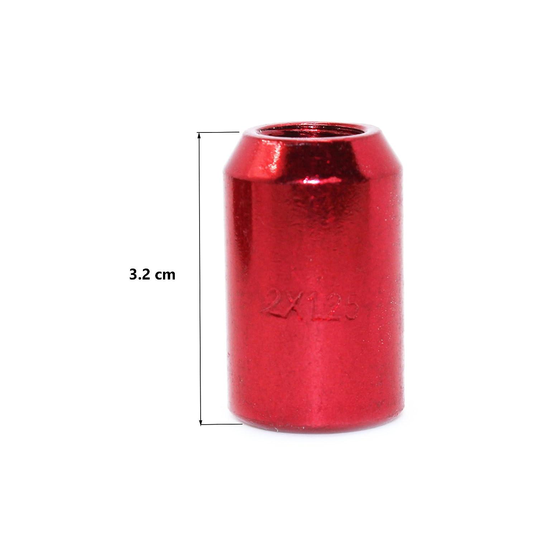 20 Pcs Colore Rosso Modello F320BRD-IT con chiave esagonale Passo filettatura M12 X 1,50 mm MODAUTO Set di dadi aperti per ruota asparagi o distanziatori