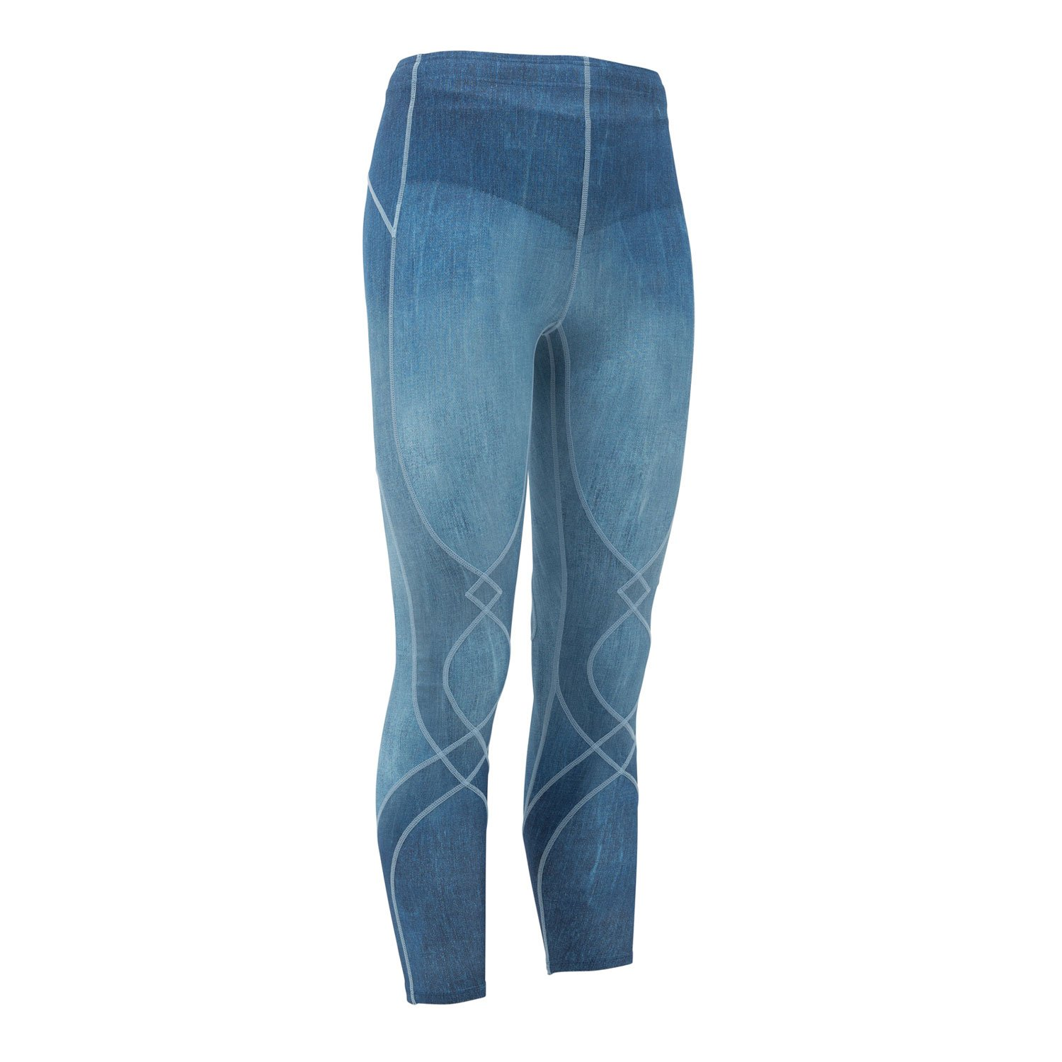 CW-X Women's Stabilyx Joint Support Compression Tight, Denim Blue, X-Small by CW-X (Image #1)