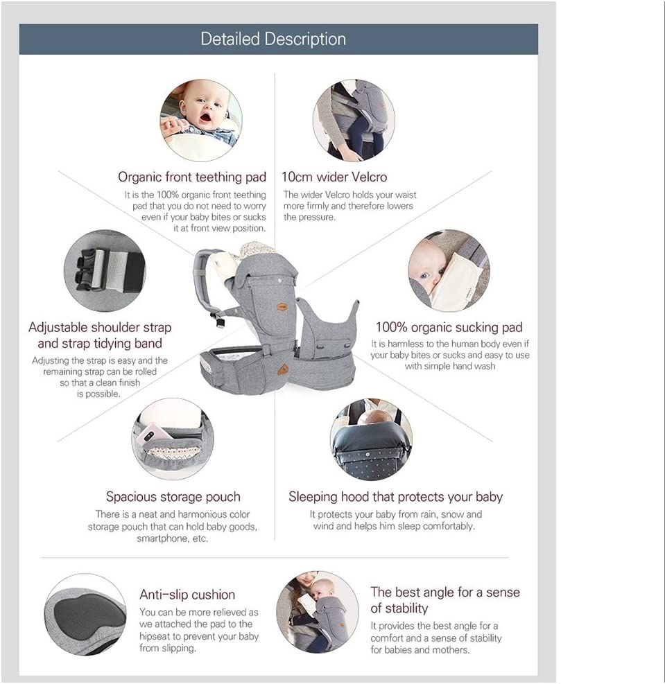 I-angel Miracle Baby Carrier Hipseat Front Backpack Carrier Ergonomic Design for Parents,Sleeping Hood,Organic Cotton teething Pads Charcoal-Gray