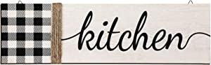 Jetec Buffalo Kitchen Wall Decor, Rustic Buffalo Plaid Wooden Wall Sign, Farmhouse Kitchen Hanging Wood Decor for Dining Room, Restaurant, Coffee Shop and Kitchen Decor