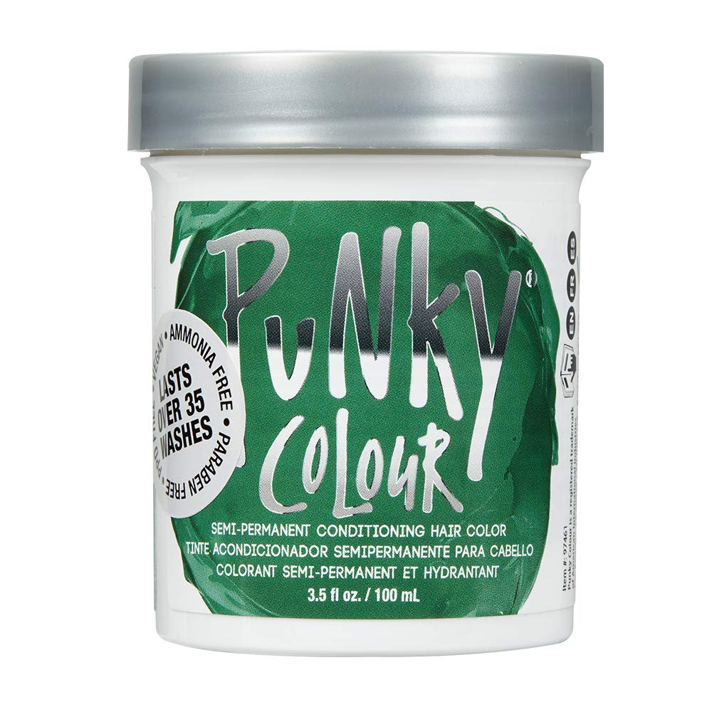 Punky Alpine Green Semi Permanent Conditioning Hair Color, Non-Damaging Hair Dye, Vegan, PPD and Paraben Free, Transforms to Vibrant Hair Color, Easy To Use and Apply Hair Tint, lasts up to 35 washes, 3.5oz