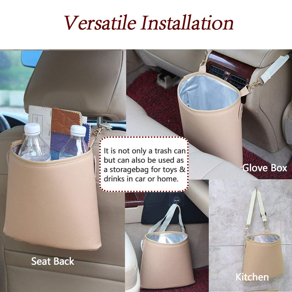 Outdoor HerMia Hanging Car Trash Can Bin Hanging Car Garbage Can PU Leather Waterproof Litter Auto Trash Can for Travelling Beige and Vehicle