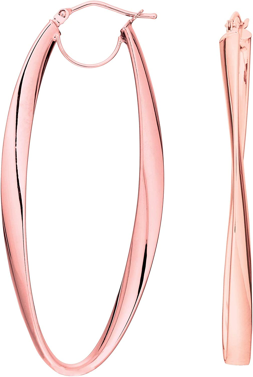 14K Yellow White or Rose Gold Shiny Long Oval Freeform Hoop Earrings with Hinged by Icedtime