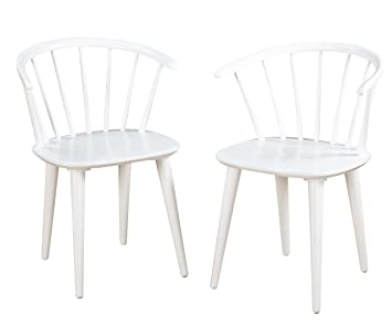 Amazon.com - Target Marketing Systems Set of 2 Florence Dining Chairs with Low Windsor Spindle Back Set of 2 White - Chairs  sc 1 st  Amazon.com & Amazon.com - Target Marketing Systems Set of 2 Florence Dining ...