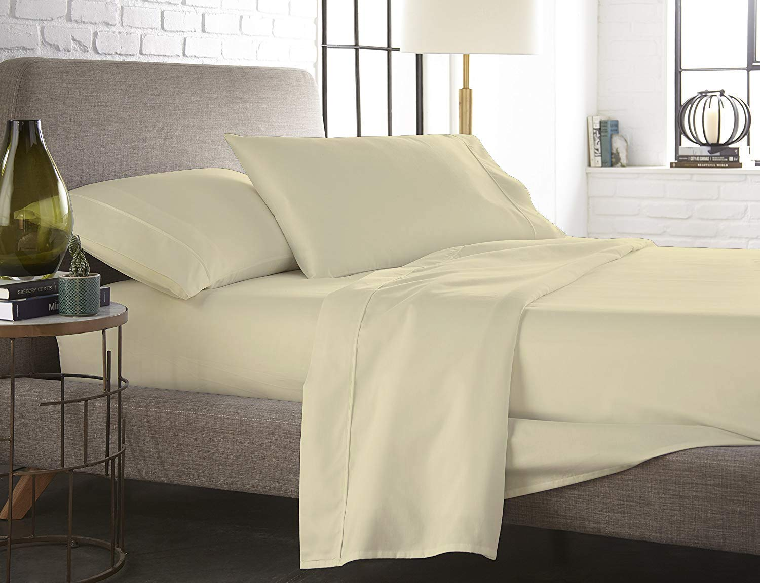 1200 Count Egyptian Cotton Extra Deep Pocket Yellow Solid Bed Sheet Set