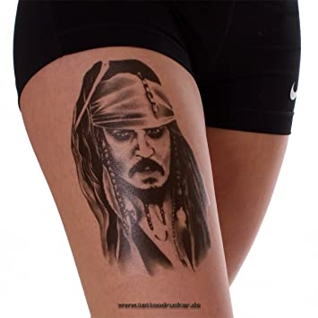1 X Jack Sparrow Tattoo In Black Temporary Tattoo Pirates Of The