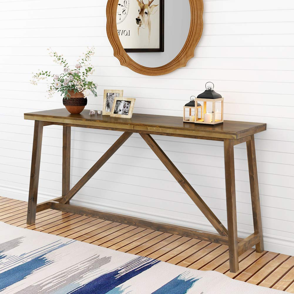 Tribesigns 59'' Extra Long Rustic Console Table, Solid Wood Entry Table, Sofa Table for Living Room, Entryway & Balcony, Brown