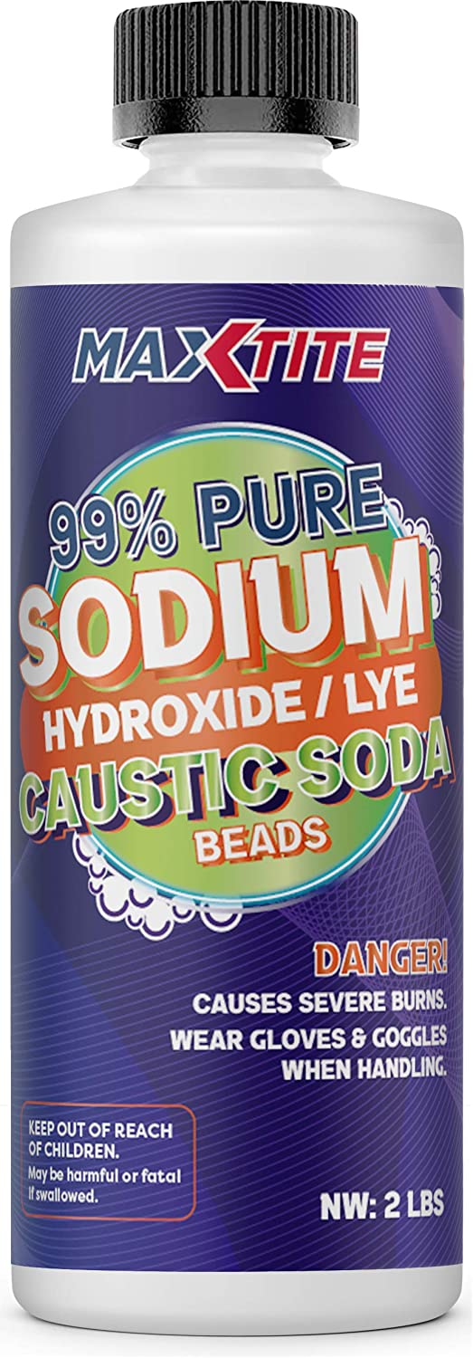 Sodium Hydroxide (Caustic Soda Beads) Lye 99% Pure (2lbs) - Food Grade Lye Drain Cleaner Opener - HDPE Container w/Resealable Child Resistant Cap…