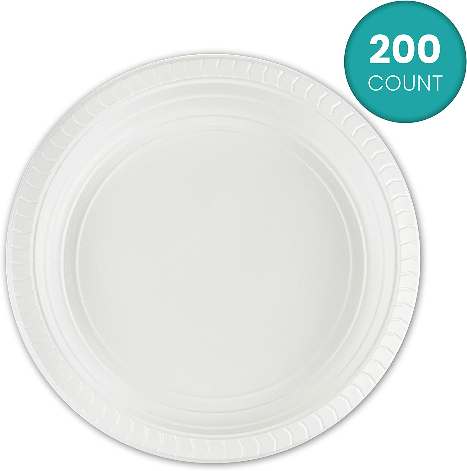 Plasticpro 7 inch Round Plastic Plates Microwaveable, Disposable, White, Dinnerware 200 Count