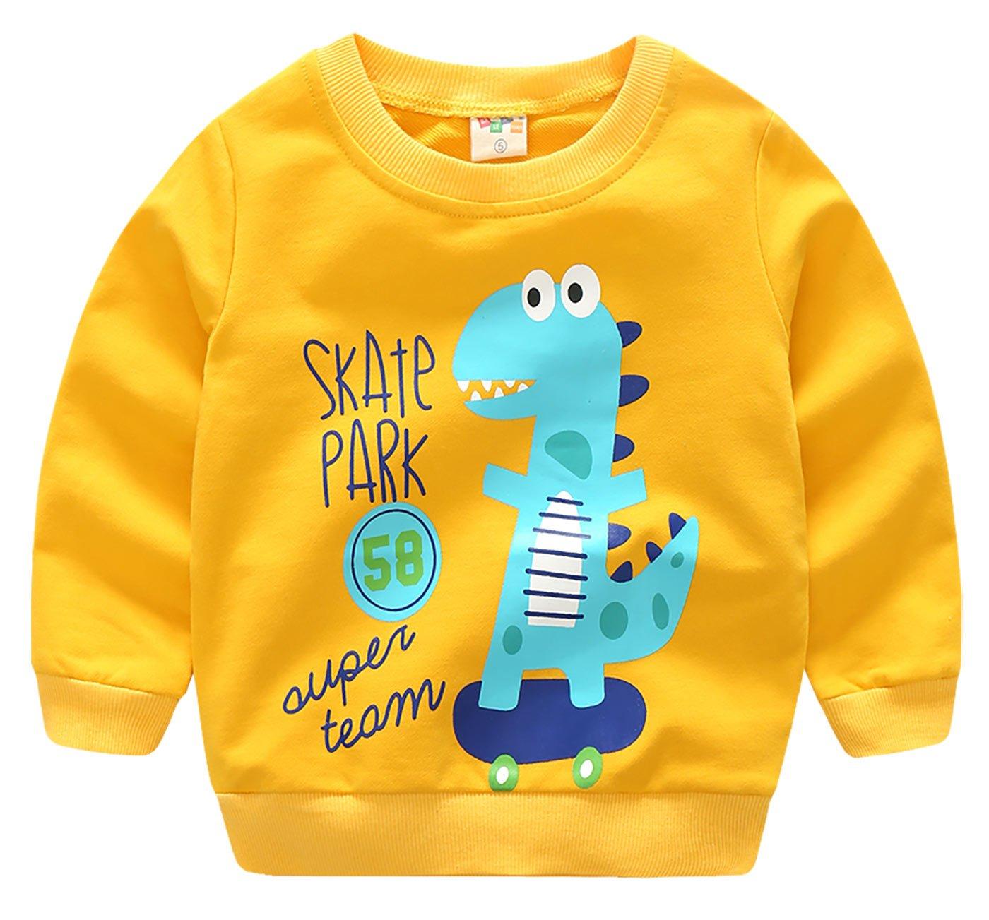 Little Boys' Long Sleeve Shirt Toddler Long Sleeve Tops Pullover Shirts For Boys Ginger Dinosaur 4T