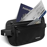Money Belt for Travel RFID Waterproof - Running Pack - Waist Pack - Hidden Wallet - Travel Wallet - Security Money Belts (black, 1.0 inch thick)