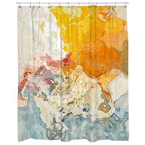 Abstract Art Shower Curtain In Orange White And Blue The Kiss