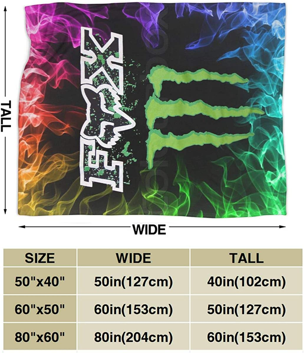 BT Fox and Mon-Ster Energy Logo Fleece Soft Throw Blankets Warm Plush Cozy Blankets for Bedroom//Couch Black