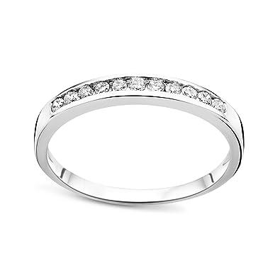 DIAMADA Femme Or Blanc en Diamant Memoire Bague 9kt (375) Brillant 0.2cts - 3997b1e38e39