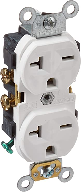 Leviton 5822-W Straight Blade Single Receptacle, 250 Vac, 20 A, 2 Pole, 3  Wire, White - Electric Plugs - Amazon.comAmazon.com