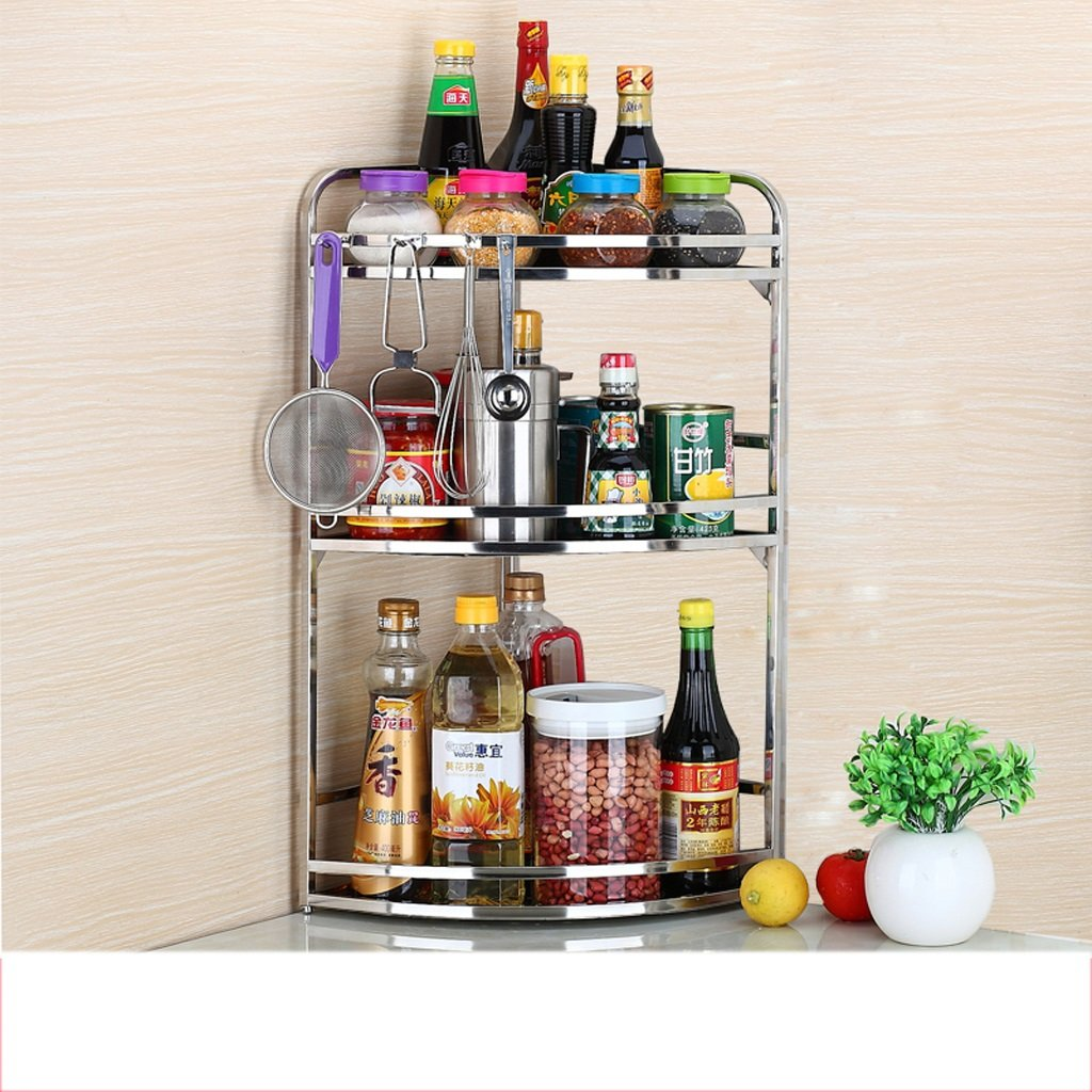 Hyun times Stainless Steel Spice Rack Seasoning Rack Kitchen Shelf Wall Hanging Kitchenware Triangle Corner Rack Storage Rack