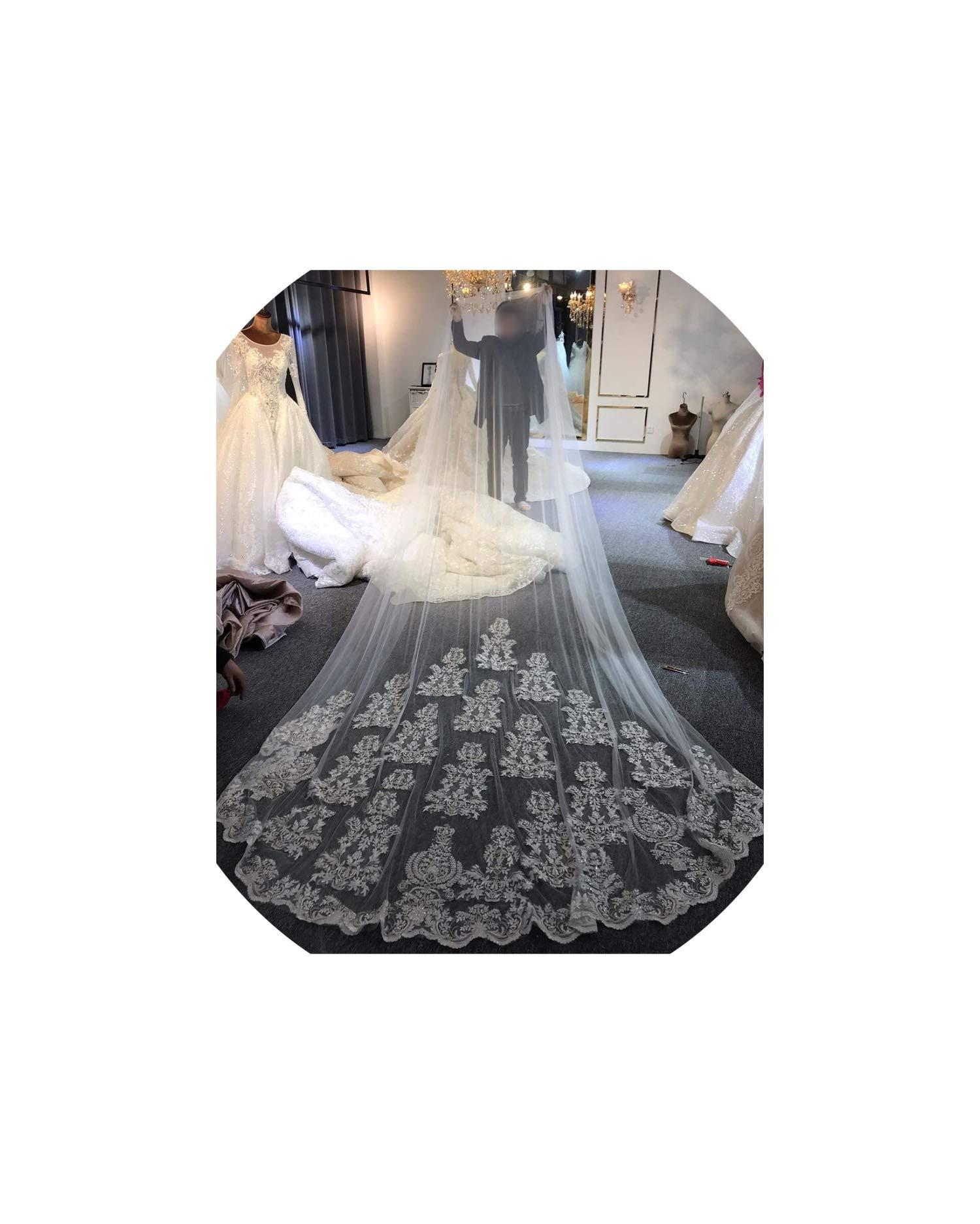 Real Photo Wedding Veil Lace Long Veil,Ivory,300cm