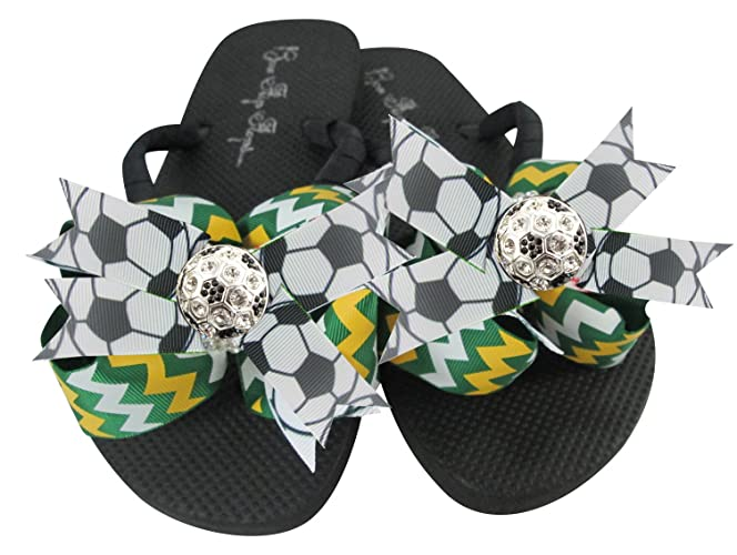 07fe02e0fd7d4a Amazon.com  Customizable Bow Colors Soccer Rhinestone Bling Flip Flops   Handmade