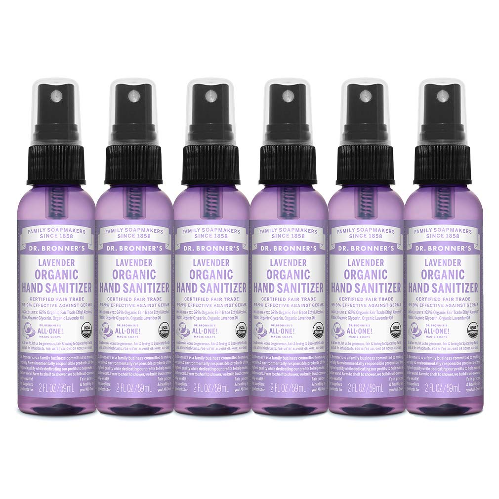 Dr. Bronner's - Organic Hand Sanitizer Spray (Lavender, 2 ounce, 6-Pack) - Simple and Effective Formula, Kills Germs and Bacteria, No Harsh Chemicals, Moisturizes and Cleans Hands by Dr. Bronner's