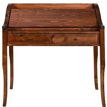 BUTLERS Watson Sekretär Aus Dunklem Tannenholz   Antiker Schreibtisch Zum  Aufklappen   Schubladen Und Fächer